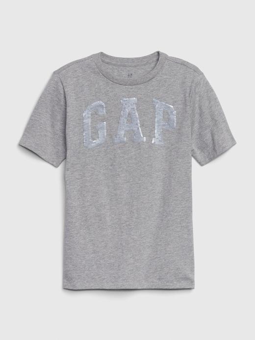 Erkek Çocuk Gri Gap Logo Değişen Pullu T-Shirt