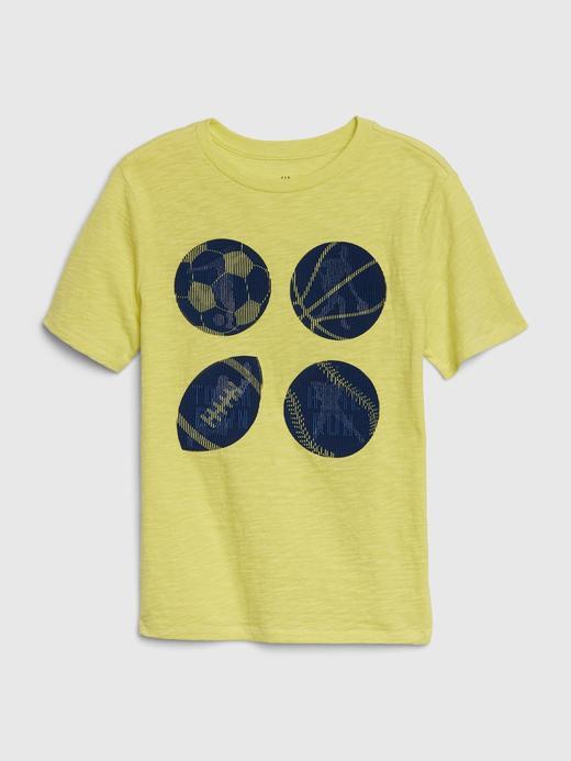 Erkek Çocuk Sarı 3D Hologram Grafik T-Shirt