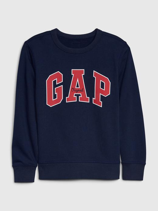 Erkek Çocuk Mavi Gap Logo Düz Yakalı Sweatshirt