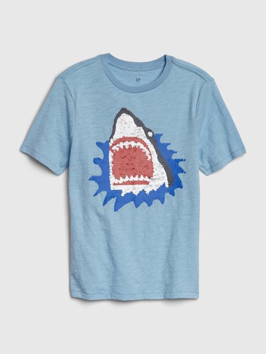 Erkek Çocuk Mavi Pullu Kısa Kollu T-Shirt