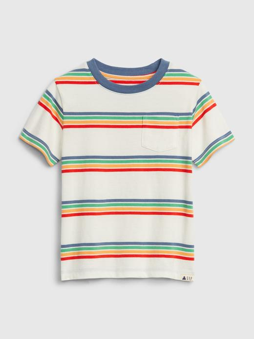 Erkek Bebek Çok renkli Kısa Kollu Çizgili T-Shirt