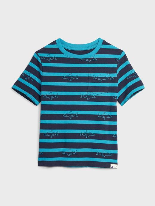 Erkek Bebek Mavi Kısa Kollu Çizgili T-Shirt