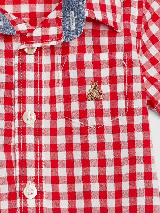 Erkek Bebek Kırmızı Kısa Kollu Ekose Gömlek