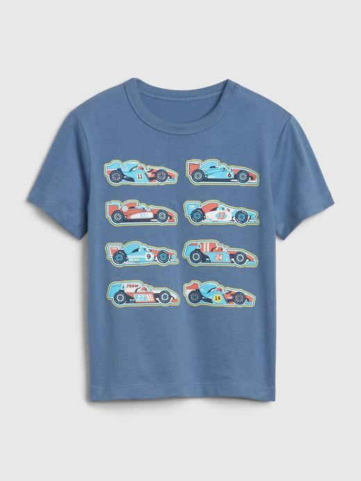 Erkek Bebek Mavi Grafik Kısa Kollu T-Shirt