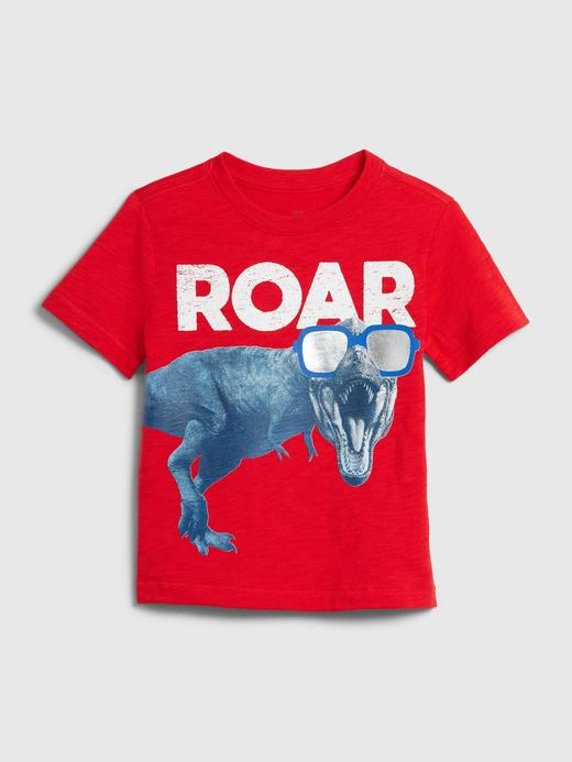 Erkek Bebek Kırmızı Grafik Kısa Kollu T-Shirt