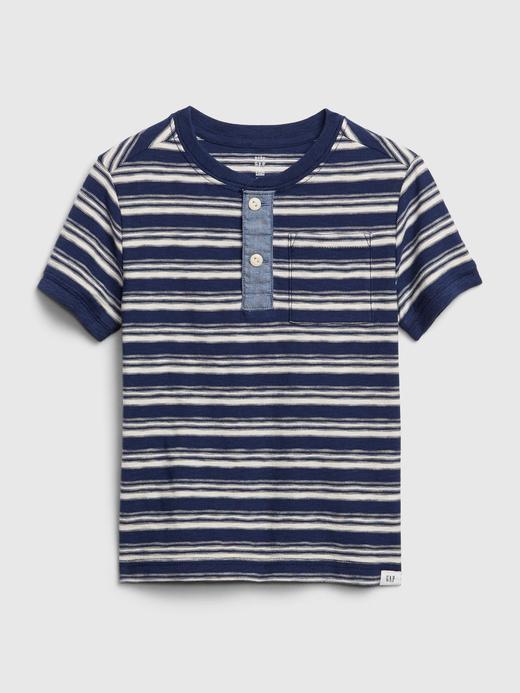 Erkek Bebek Lacivert Henley Kısa Kollu T-Shirt