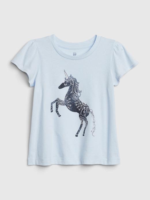 Kız Bebek Mavi Desenli Kısa Kollu T-Shirt