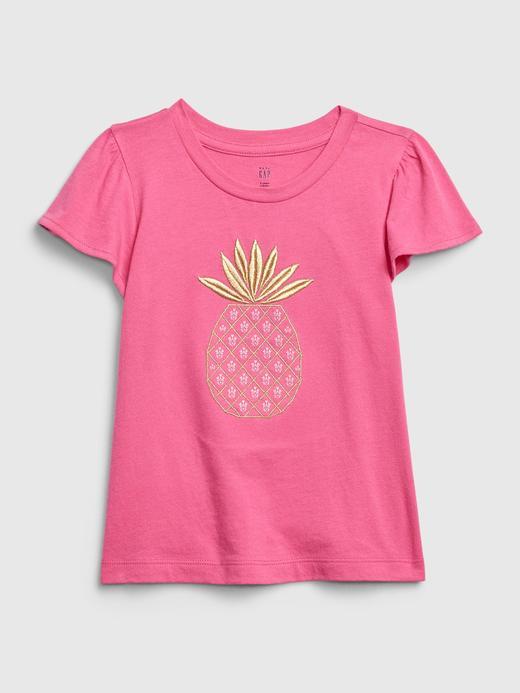 Kız Bebek Pembe Desenli Kısa Kollu T-Shirt
