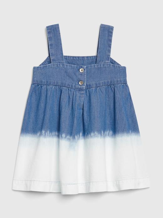 Kız Bebek Mavi Batik Desenli Denim Elbise