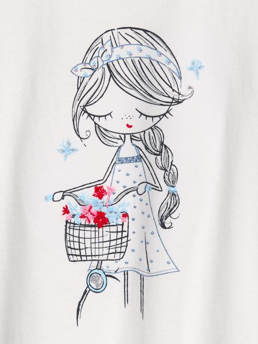 Kız Bebek Beyaz Kısa Kollu T-Shirt