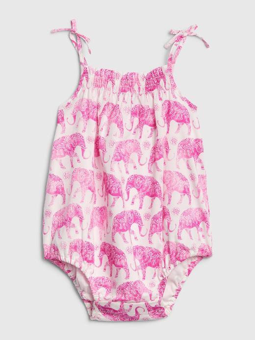 Kız Bebek Pembe Fil Desenli Tulum