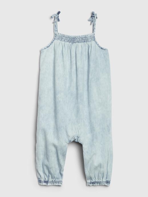 Kız Bebek Mavi Askılı Denim Tulum