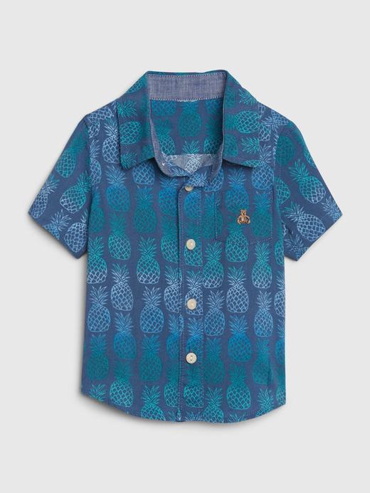Erkek Bebek Mavi Ananas Desenli Gömlek