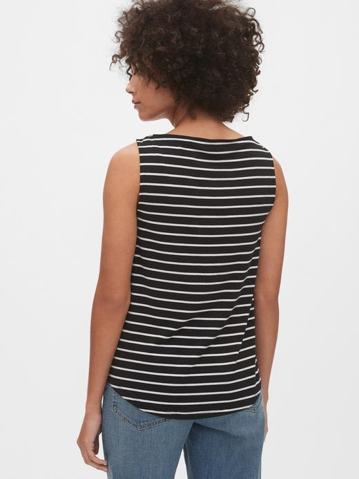 Kadın Siyah Kayık Yaka Kolsuz T-Shirt