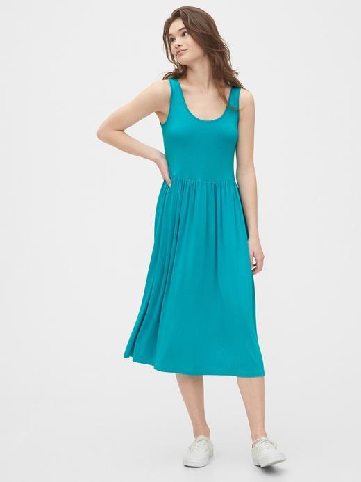 Kadın Mavi Yuvarlak Yaka Midi Elbise