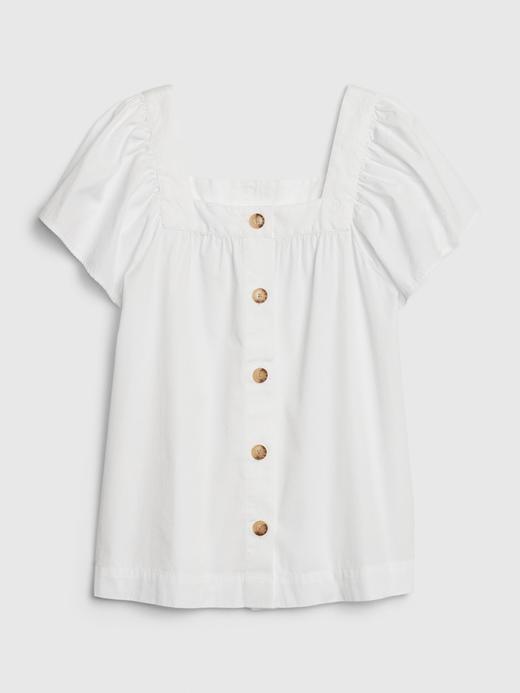 Kadın Beyaz Kare Yaka Düğmeli Bluz