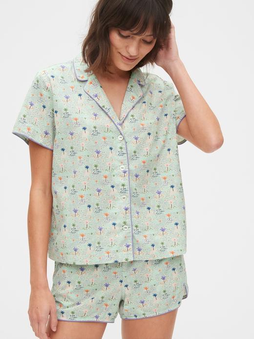 Kadın Yeşil Desenli Poplin Pijama Üstü