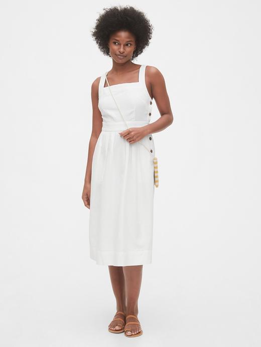 Kadın Beyaz Keten Karışımlı Midi Elbise