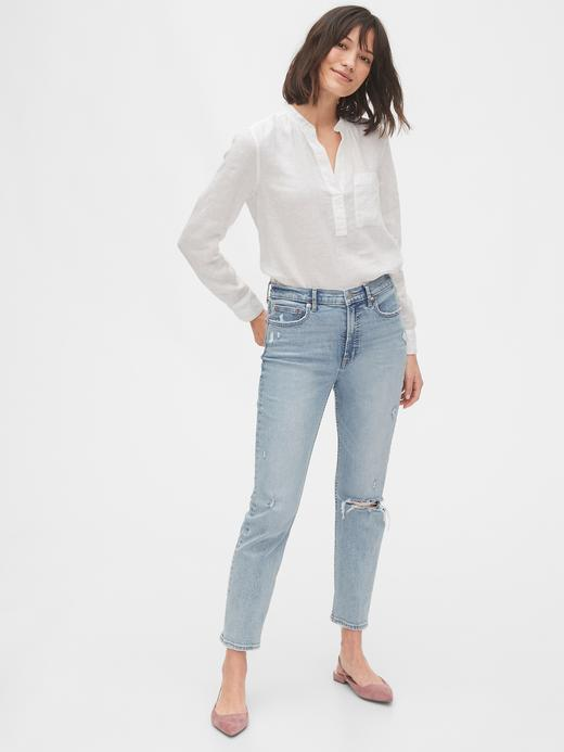 Kadın Beyaz Keten Popover Gömlek