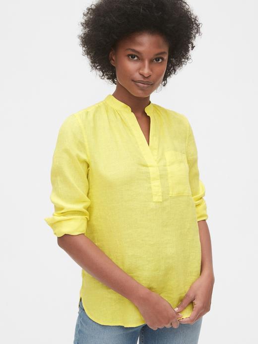 Kadın Sarı Keten Popover Gömlek