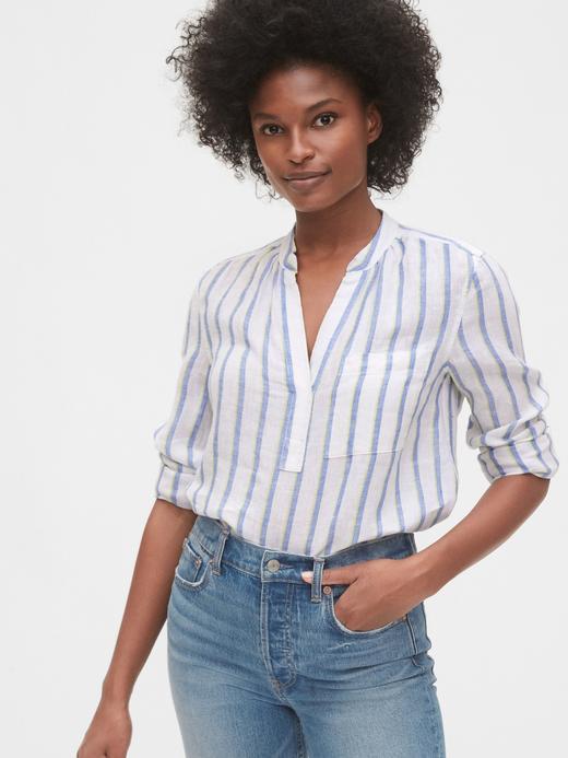 Kadın Mavi Keten Popover Gömlek