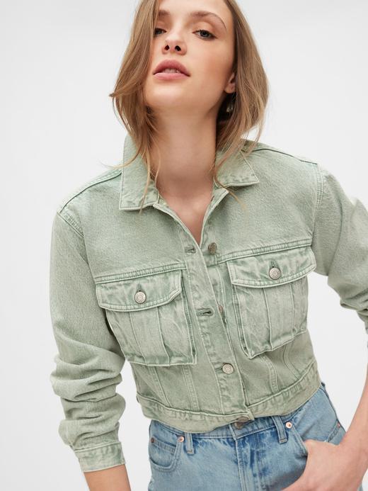 Kadın Yeşil Utility Cropped Denim Ceket