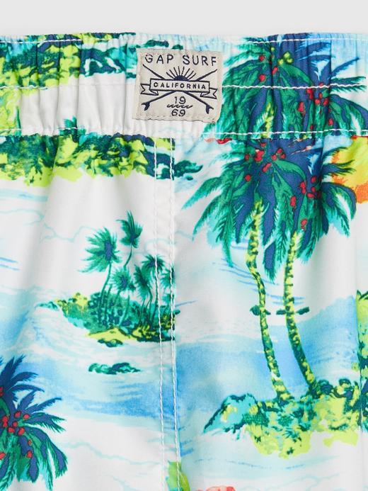 Erkek Çocuk beyaz Tropikal Desenli Mayo