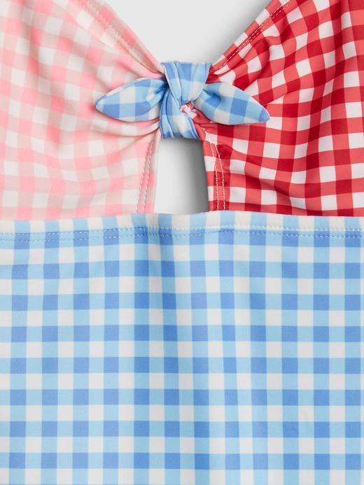 Kız Çocuk Mavi Askılı Kareli Mayo