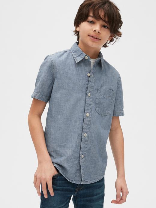 Erkek Çocuk Mavi Kısa Kollu Şambre Gömlek