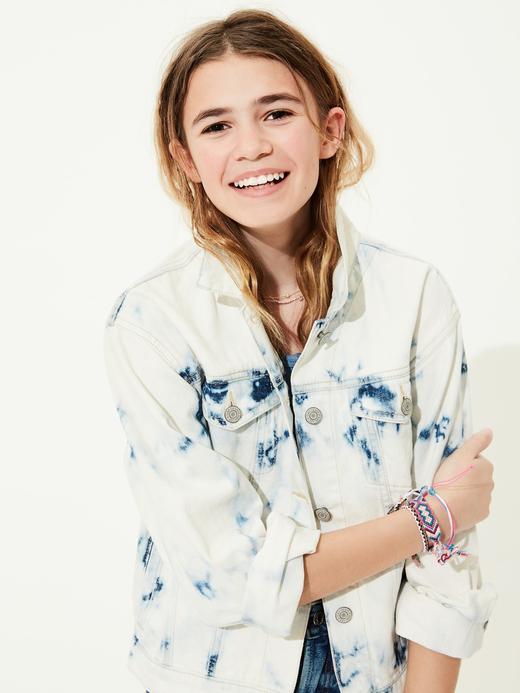 Genç Kız Mavi Genç Kız | Batik Desenli Denim Ceket