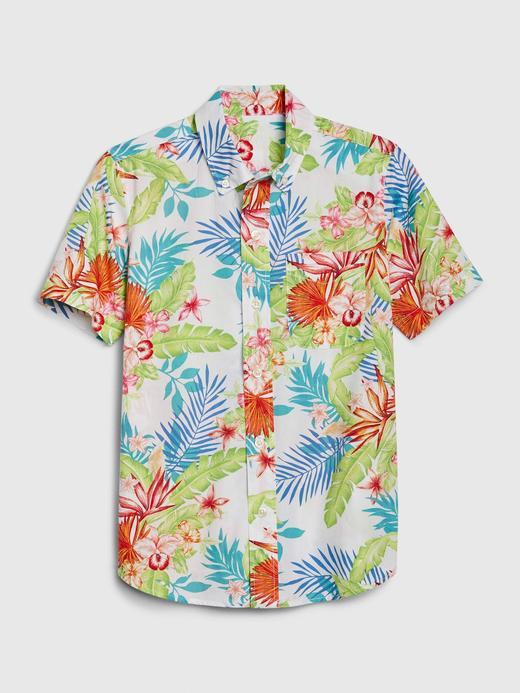 Erkek Çocuk Çok renkli Tropikal Desenli Gömlek