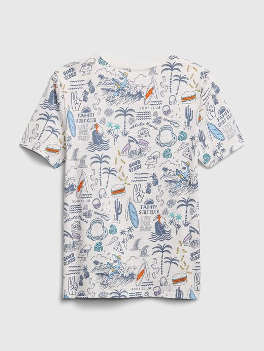 Erkek Çocuk Beyaz Cepli Kısa Kollu T-Shirt