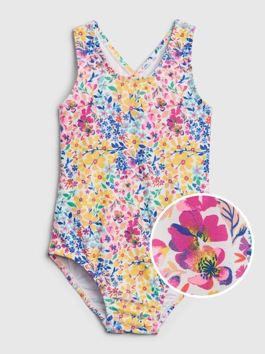 Kız Bebek Çok renkli Çiçek Desenli Mayo