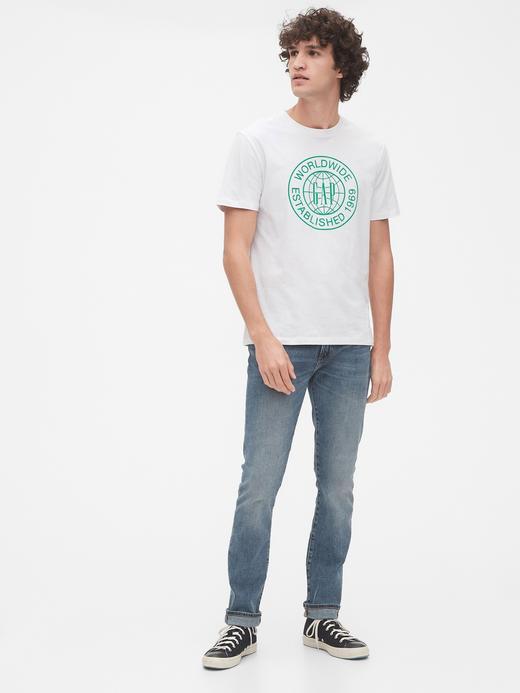 Erkek Mavi Grafik Kısa Kollu T-Shirt