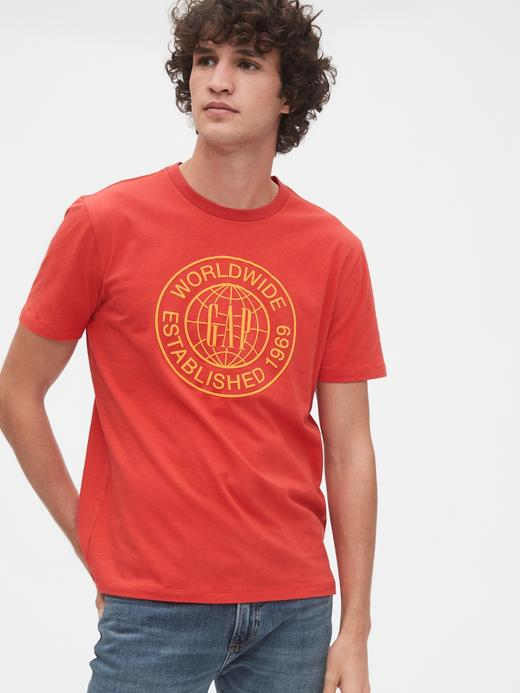 Erkek Kırmızı Grafik Kısa Kollu T-Shirt