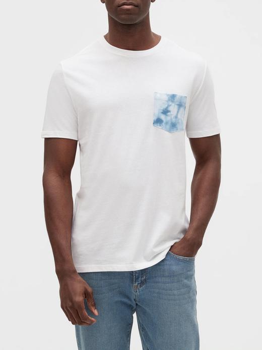 Erkek Beyaz Batik Cepli Kısa Kollu T-Shirt