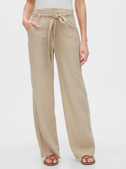 Kadın Bej Kemerli Keten Pantolon