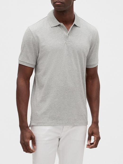 Erkek Gri Pique Kısa Kollu Polo T-Shirt
