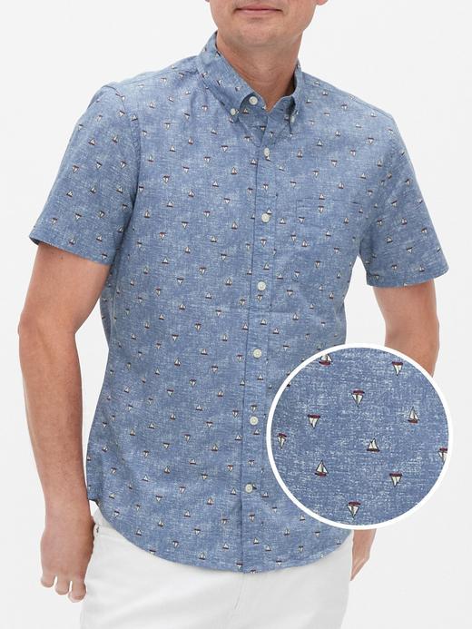 Erkek Lacivert Slim Fit Kısa Kollu Gömlek