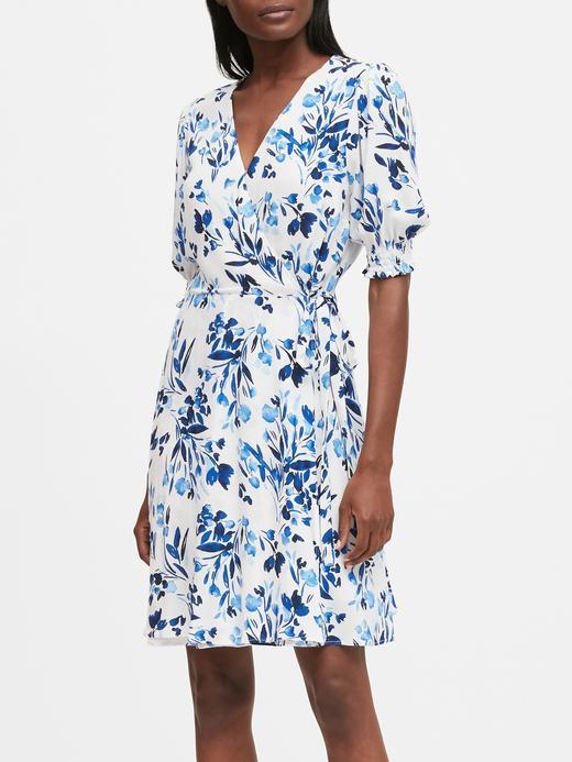 Kadın Mavi Desenli Anvelop Mini Elbise