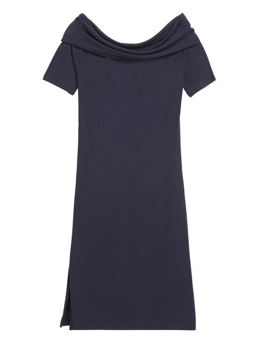Kadın Lacivert Fitilli Düşük Omuzlu Elbise