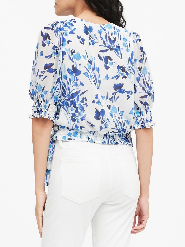 Kadın Mavi Balon Kollu Cropped Bluz