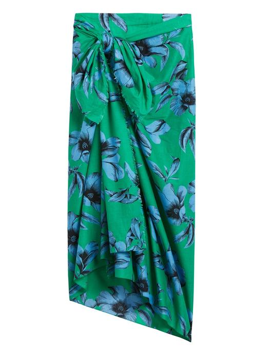 Kadın Yeşil Tropikal Desenli Pareo
