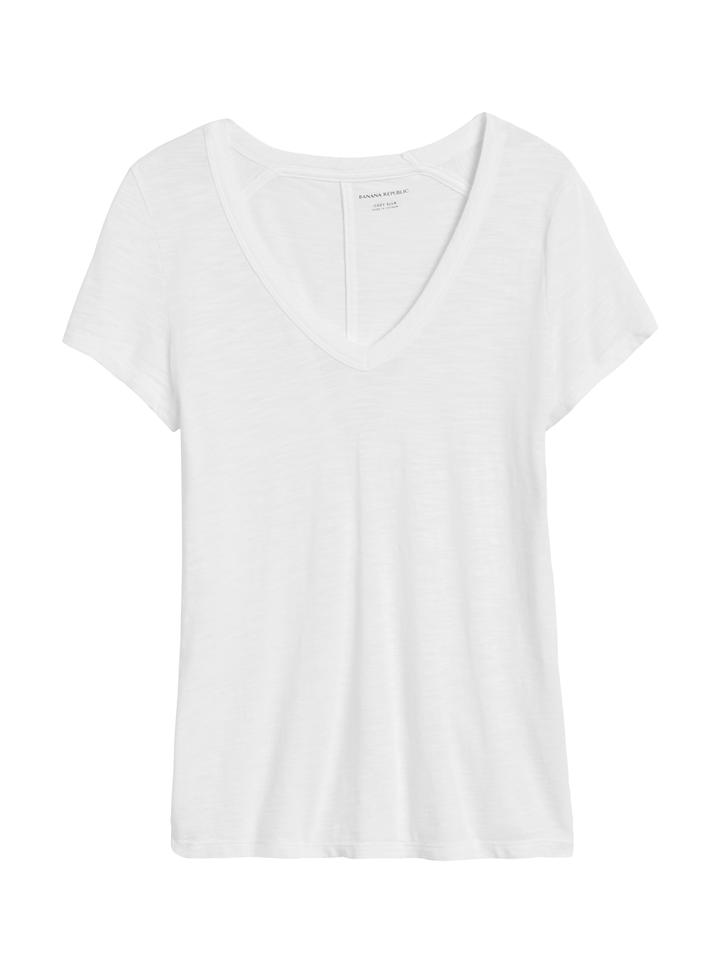 Kadın Beyaz Kısa Kollu V Yaka T-Shirt