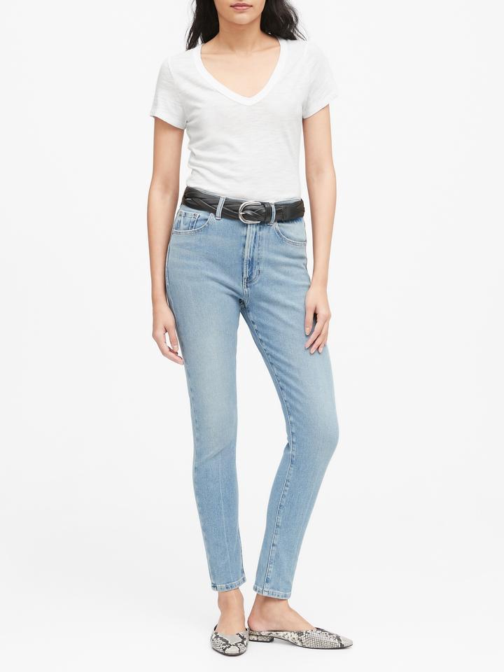 Kadın Mavi Kısa Kollu V Yaka T-Shirt