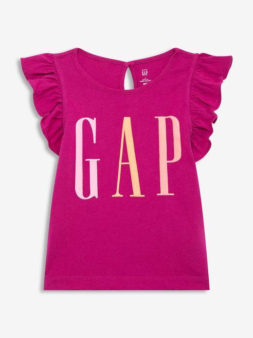 Kız Bebek Mor Gap Logo Kısa Kollu T-Shirt