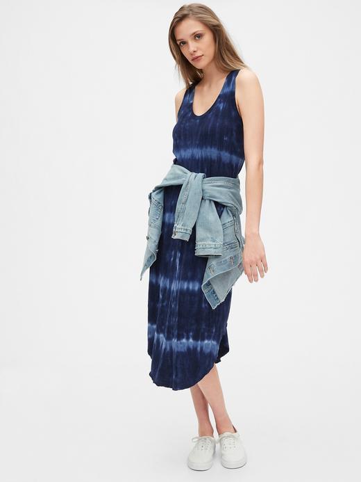 Kadın Pembe Batik Desenli Midi Elbise