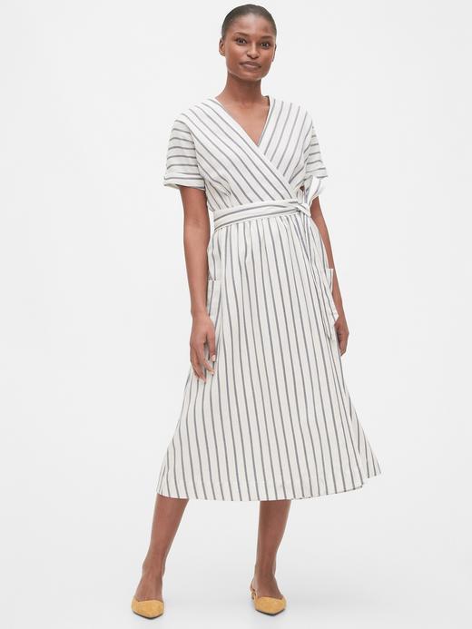 Kadın Beyaz Keten Pamuk Karışımlı Kısa Kollu Elbise