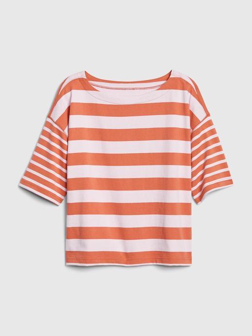 Kadın Lacivert Çizgili Boxy T-Shirt