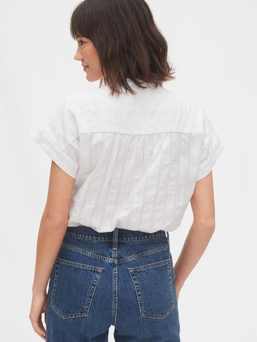 Kadın Beyaz Kısa Kollu Popover Gömlek
